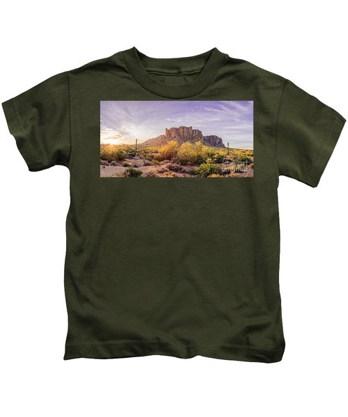 Sun Peaking At Lost Dutchman State Park - Apache Junction Arizona Kids T-Shirt
