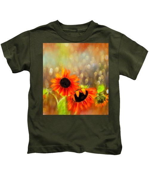 Sunflower Rain Kids T-Shirt