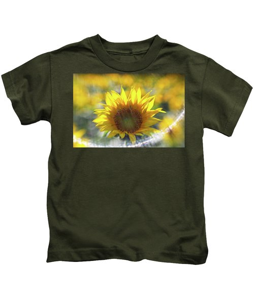 Sunflower With Lens Flare Kids T-Shirt