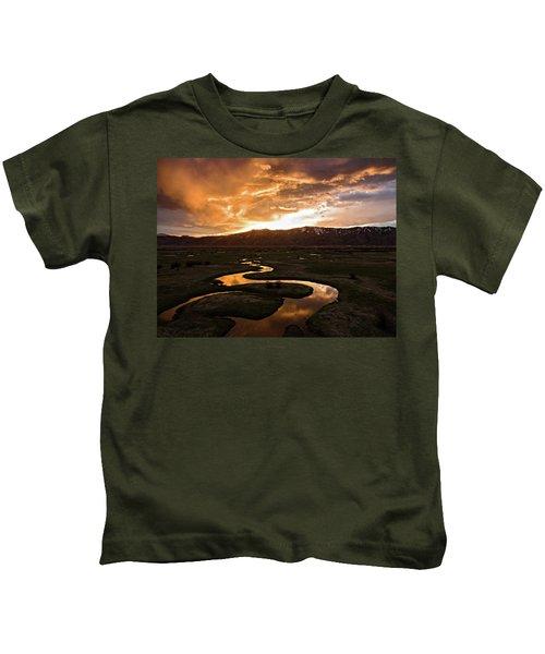 Sunrise Over Winding River Kids T-Shirt