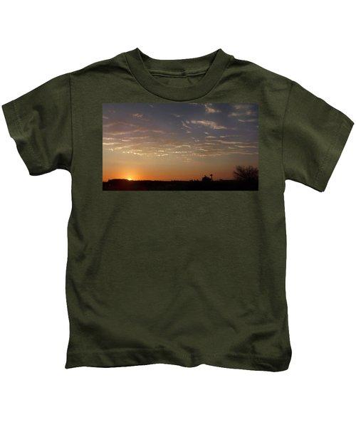 Sunrise With Windmill Kids T-Shirt