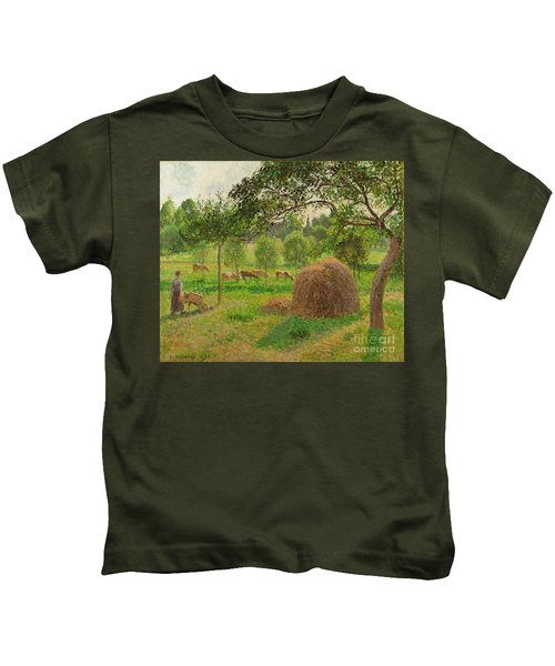 Sunset At Eragny Kids T-Shirt