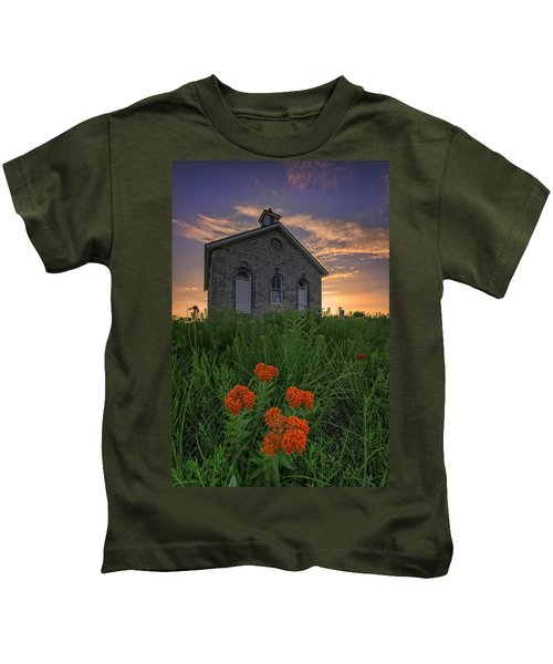 Sunset At Lower Fox Creek Schoolhouse Kids T-Shirt