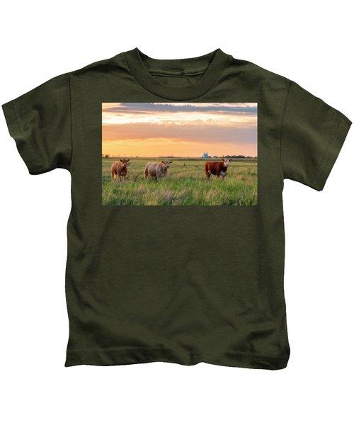 Sunset Cattle Kids T-Shirt