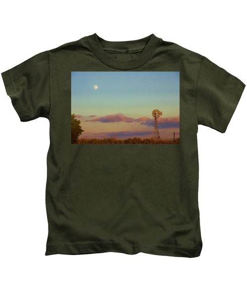 Sunset Moonrise With Windmill  Kids T-Shirt
