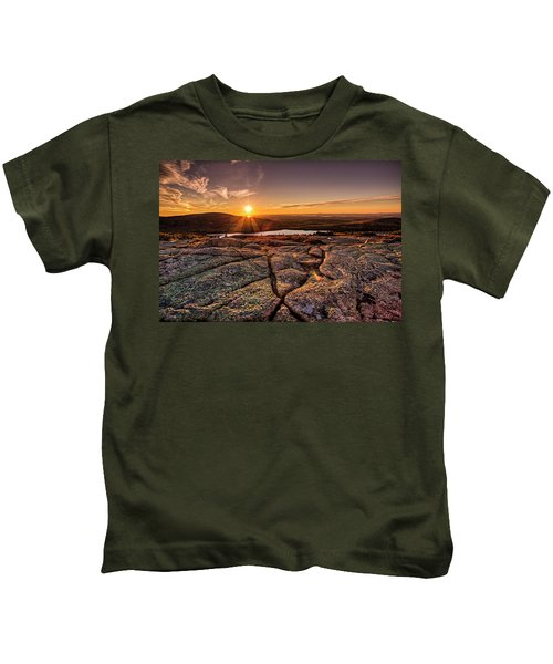 Sunset On Cadillac Mountain Kids T-Shirt