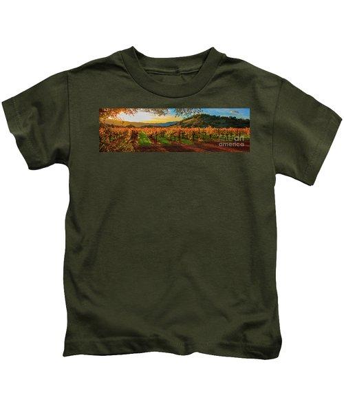 Sunset Over Gamble Vineyards Kids T-Shirt
