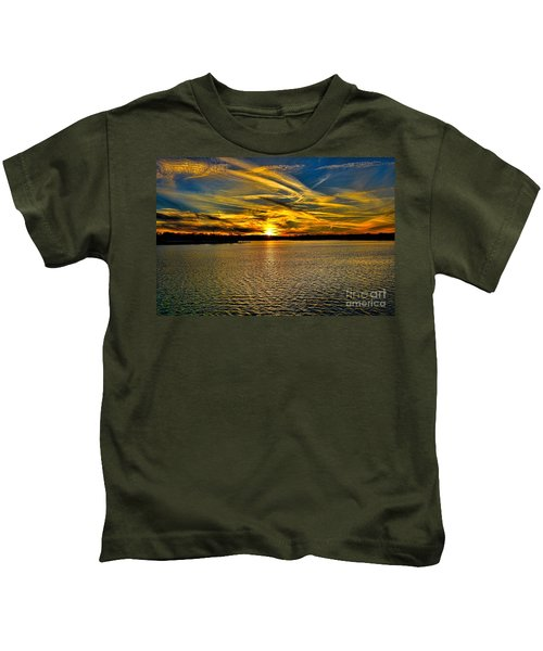 Sunset Over Lake Palestine Kids T-Shirt