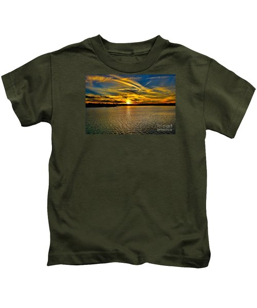 Sunset Over Lake Palestine Kids T-Shirt