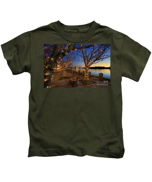 Sunset Over The Wilmington Waterfront In North Carolina, Usa Kids T-Shirt