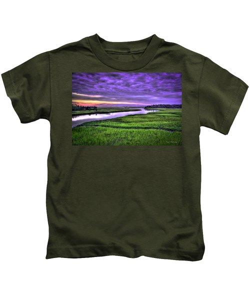 Sunset Over Turners Creek Savannah Tybee Island Ga Kids T-Shirt