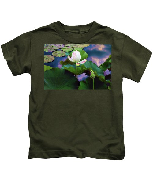Sunset Pond Lotus Kids T-Shirt