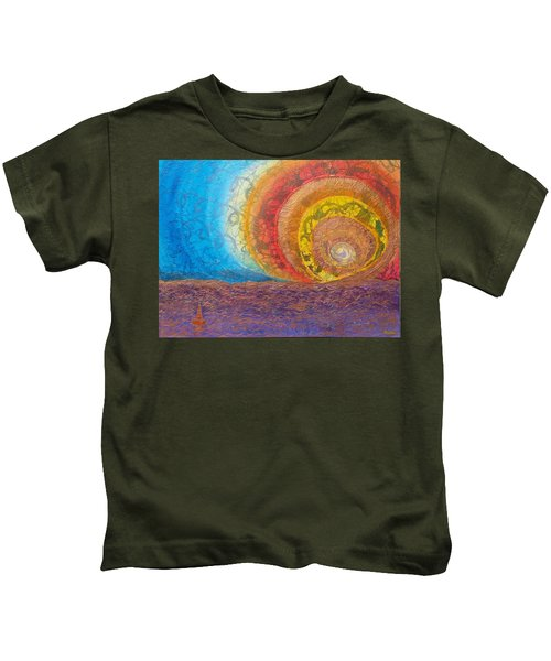 Sunset Unfurls Over Purple Sea Kids T-Shirt