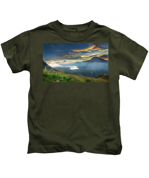 Sunset View From Mt Rinjani Crater Kids T-Shirt