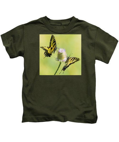 Swallowtails On Thistle  Kids T-Shirt