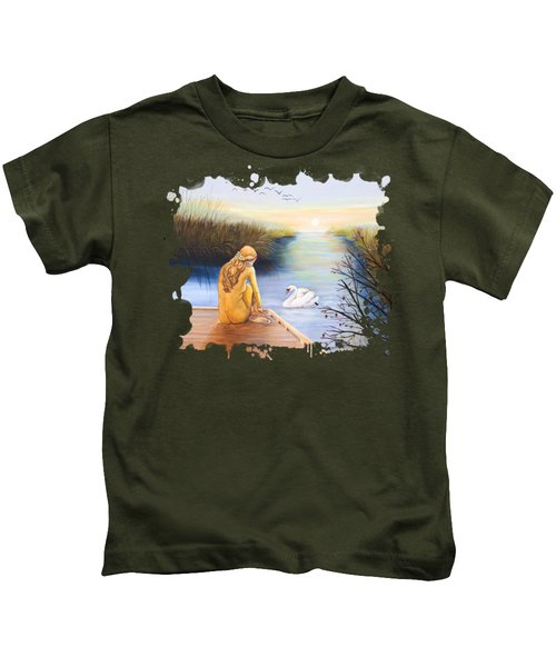 Swan Bride T-shirt Kids T-Shirt by Dorothy Riley
