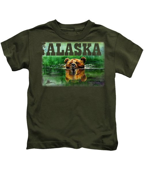 Swiming Grizzly Shirt Kids T-Shirt