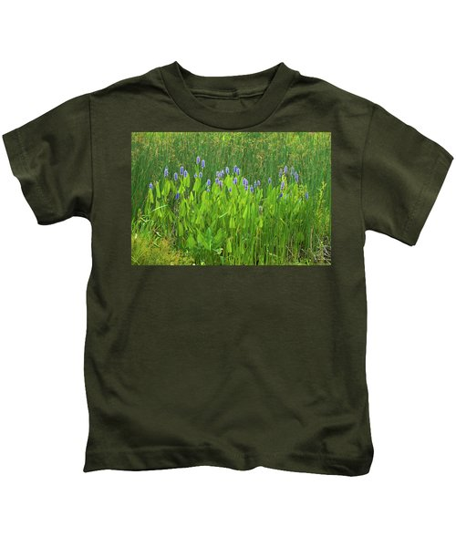 Tall Purple And Blue Blooming Flowers Kids T-Shirt