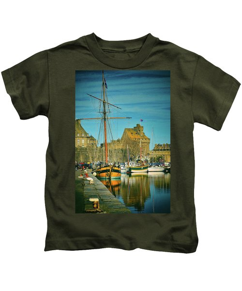 Tall Ship In Saint Malo Kids T-Shirt