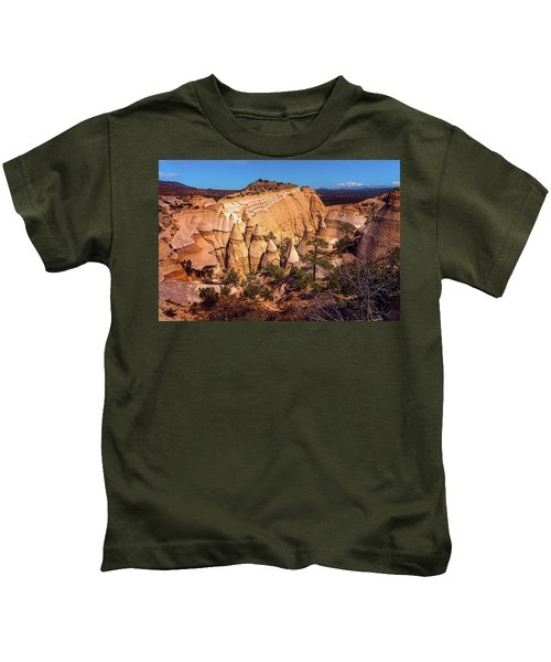 Tent Rocks From Above Kids T-Shirt