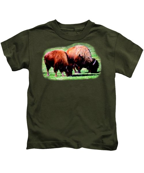Texas Bison Kids T-Shirt by Linda Phelps