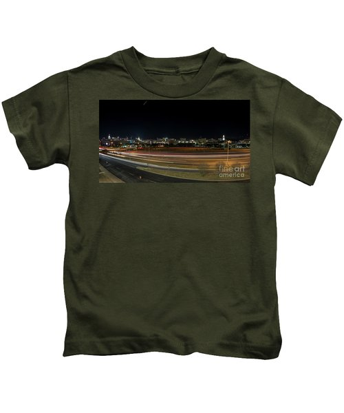 Texas University Tower And Downtown Austin Skyline From Ih35 Kids T-Shirt