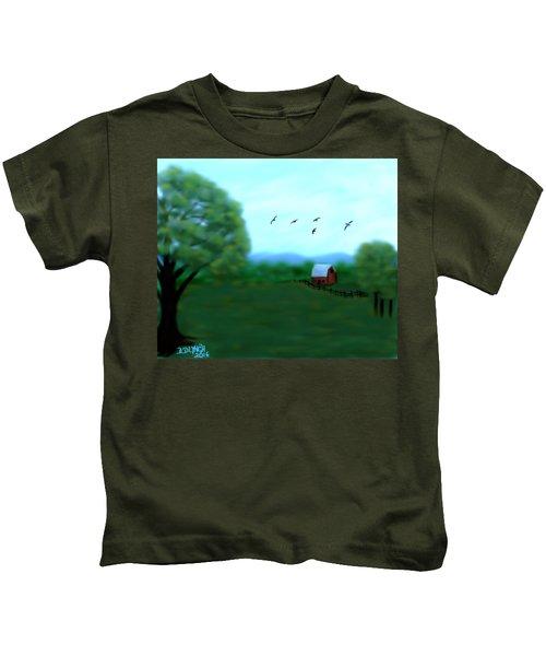 The Farm Below The Mountains Kids T-Shirt