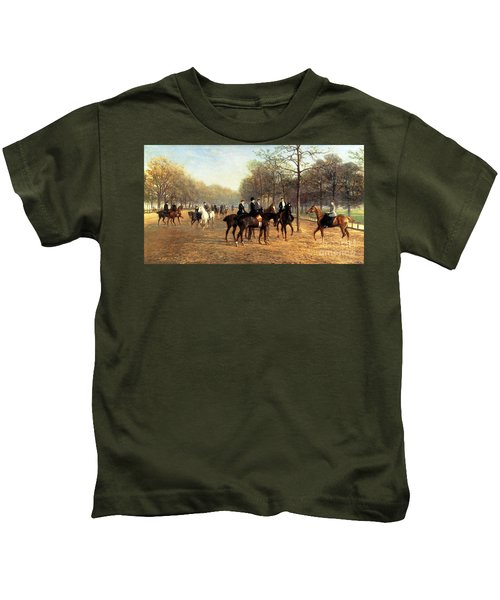 The Morning Ride Rotten Row Hyde Park Kids T-Shirt by Heywood Hardy