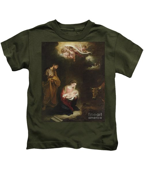 The Nativity With The Annunciation To The Shepherds Beyond Kids T-Shirt
