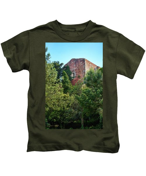 The Old Monastery Of Escornalbou Surrounded By Trees In Spain Kids T-Shirt