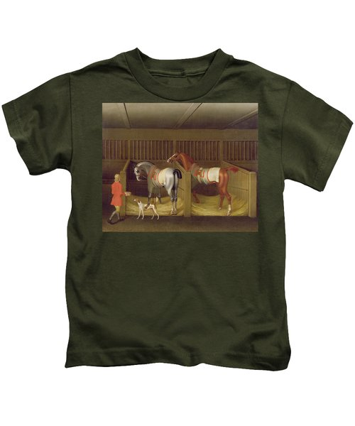 The Stables And Two Famous Running Horses Belonging To His Grace - The Duke Of Bolton Kids T-Shirt