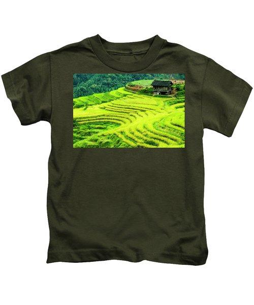 The Terraced Fields Scenery In Autumn Kids T-Shirt