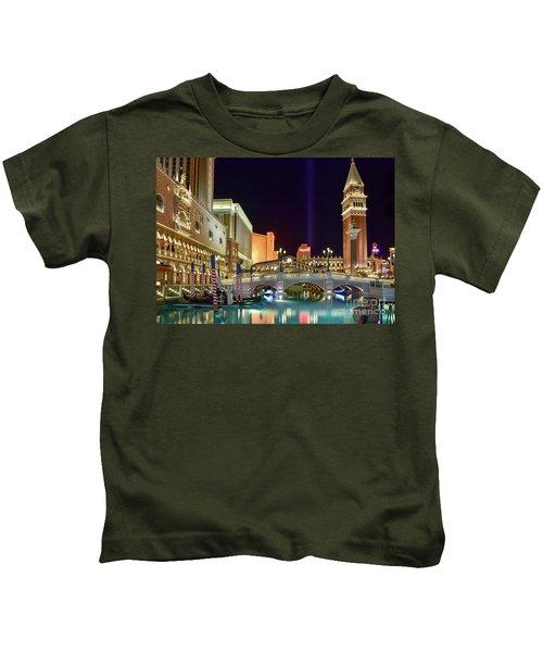 The Venetian Gondolas At Night Kids T-Shirt