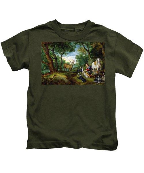 The Vision Of Saint Hubert Kids T-Shirt