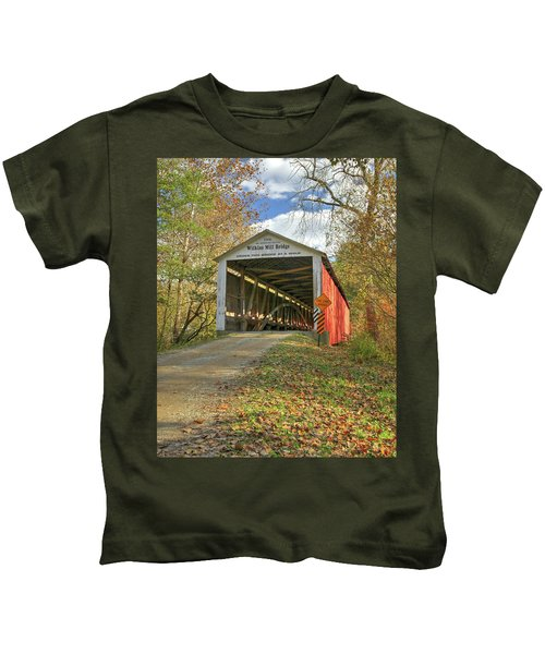 The Wilkins Mill Covered Bridge Kids T-Shirt