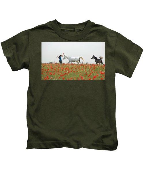 Three At The Poppies' Field Kids T-Shirt