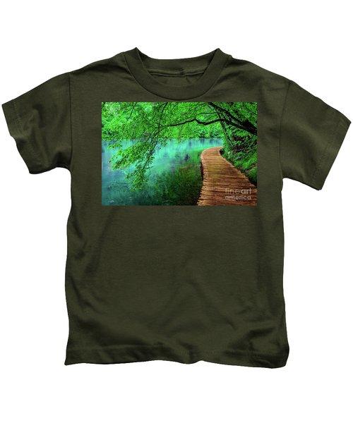 Tree Hanging Over Turquoise Lakes, Plitvice Lakes National Park, Croatia Kids T-Shirt