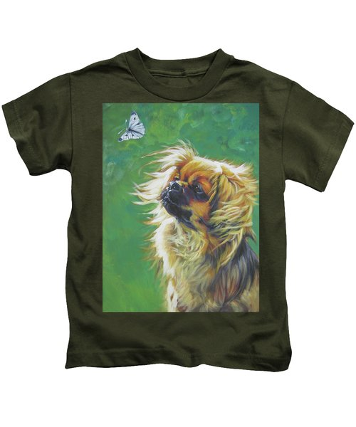 Tibetan Spaniel And Cabbage White Butterfly Kids T-Shirt by Lee Ann Shepard