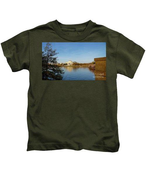 Tidal Basin And Jefferson Memorial Kids T-Shirt by Megan Cohen