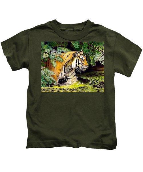 Tiger In The Dundurban Delta Kids T-Shirt