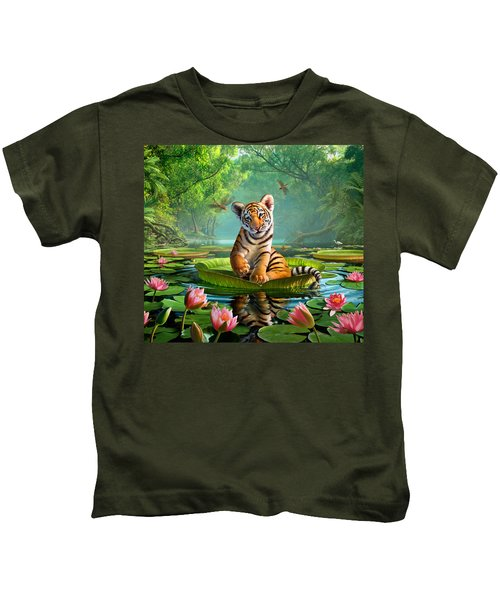 Tiger Lily Kids T-Shirt by Jerry LoFaro