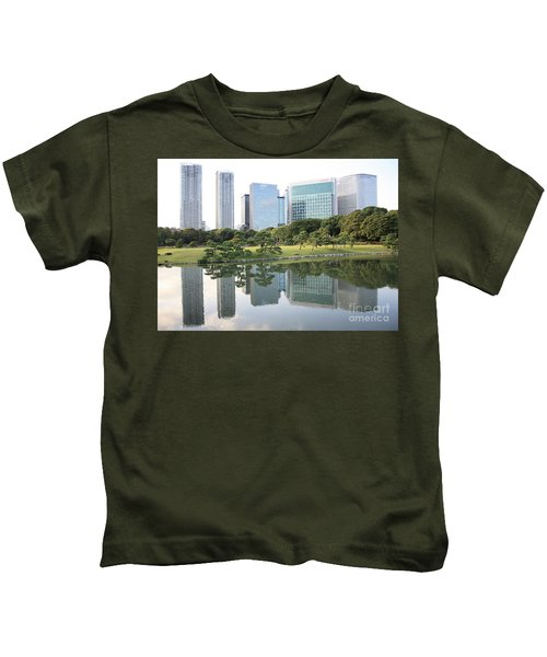 Tokyo Skyline Reflection Kids T-Shirt by Carol Groenen