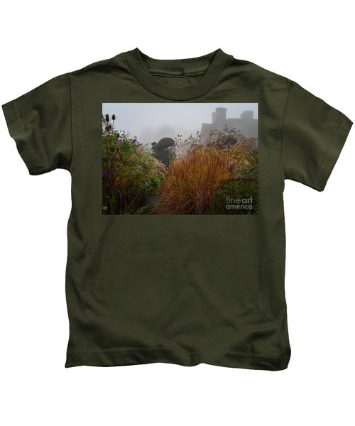 Topiary Peacocks In The Autumn Mist, Great Dixter 2 Kids T-Shirt