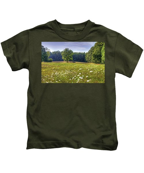 Tractor In Field With Flowers Kids T-Shirt