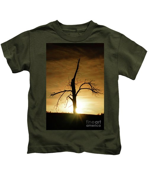 Tree Silhouette At Sundown Kids T-Shirt