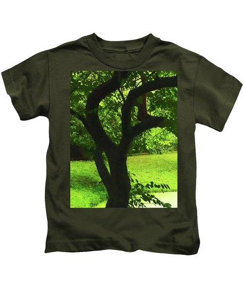 Tree Trunk Green Kids T-Shirt