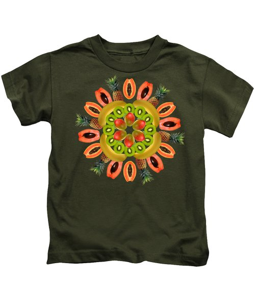 Tropical Fruits Kids T-Shirt by Edelberto Cabrera