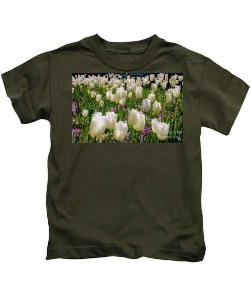 Tulips In White Kids T-Shirt
