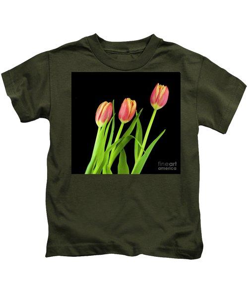 Tulips On Black Kids T-Shirt