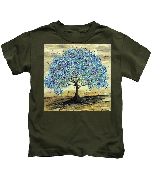 Turquoise Tree Kids T-Shirt